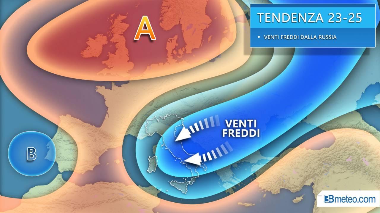 Meteo tendenza nuova settimana, aria fredda dalla Russia