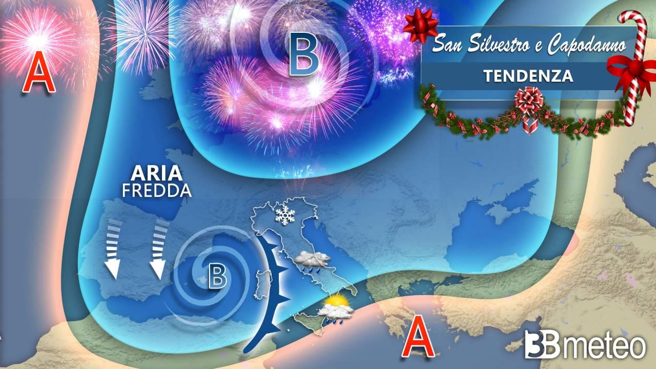 Meteo tendenza sinottica San Silvestro e Capodanno