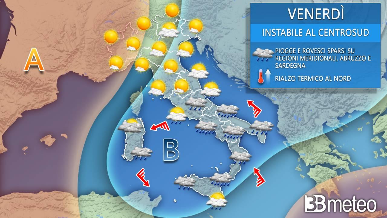 Meteo venerdì Italia