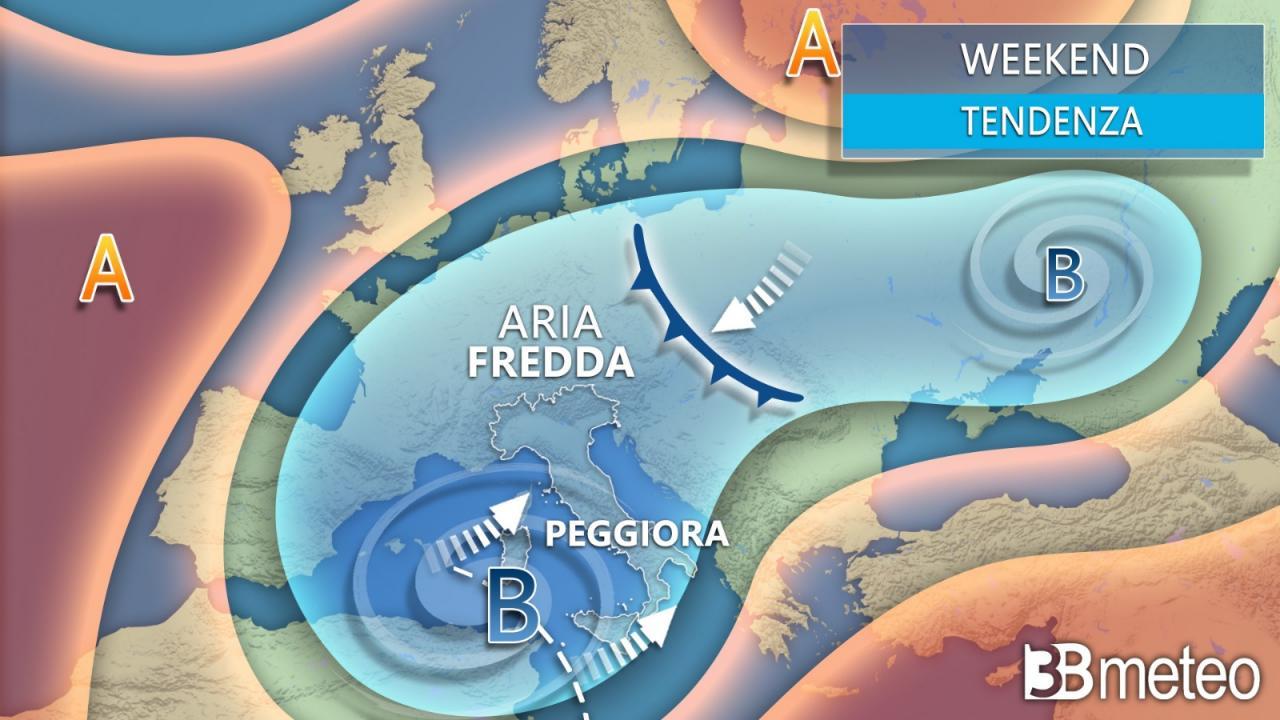 Meteo weekend. Depressione fredda sul Mediterraneo, il tempo rimane a tratti instabile