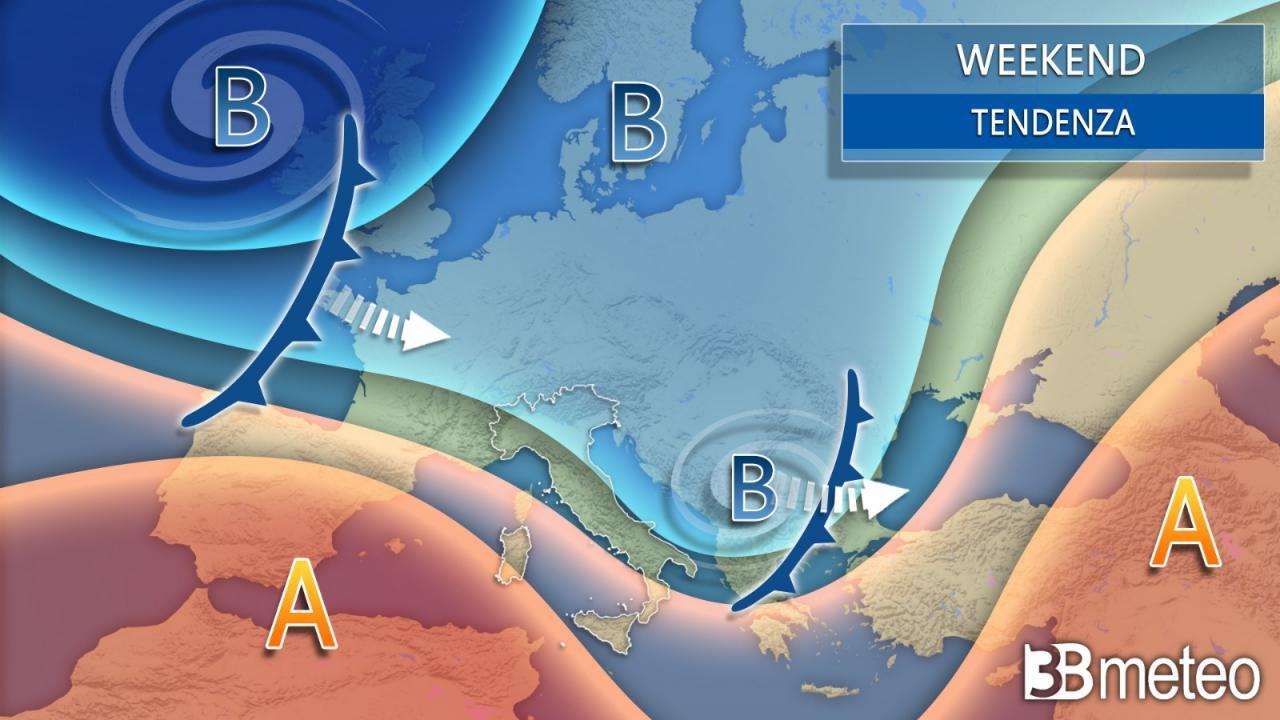 Meteo weekend. Italia interessata dal flusso umido occidentale