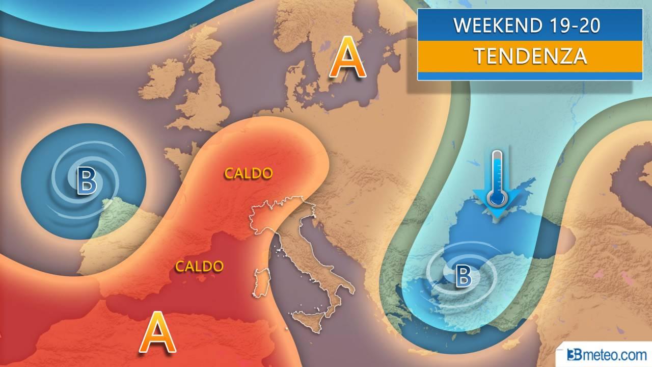 Meteo weekend 19-20 tra anticiclone africano e infiltrazioni fresche