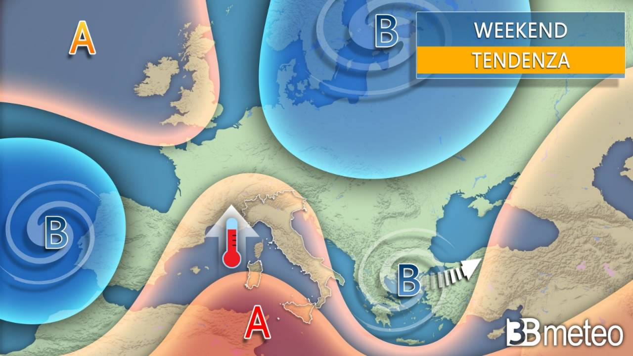 Meteo weekend 25 aprile. Anticiclone in rinforz