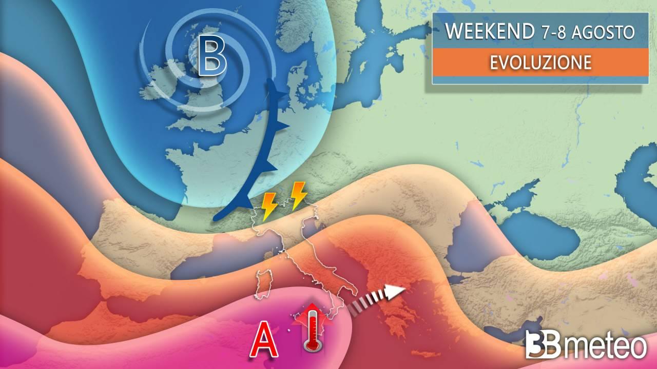 Meteo weekend 7-8 agosto, confermata una nuova fase di maltempo per il Nord
