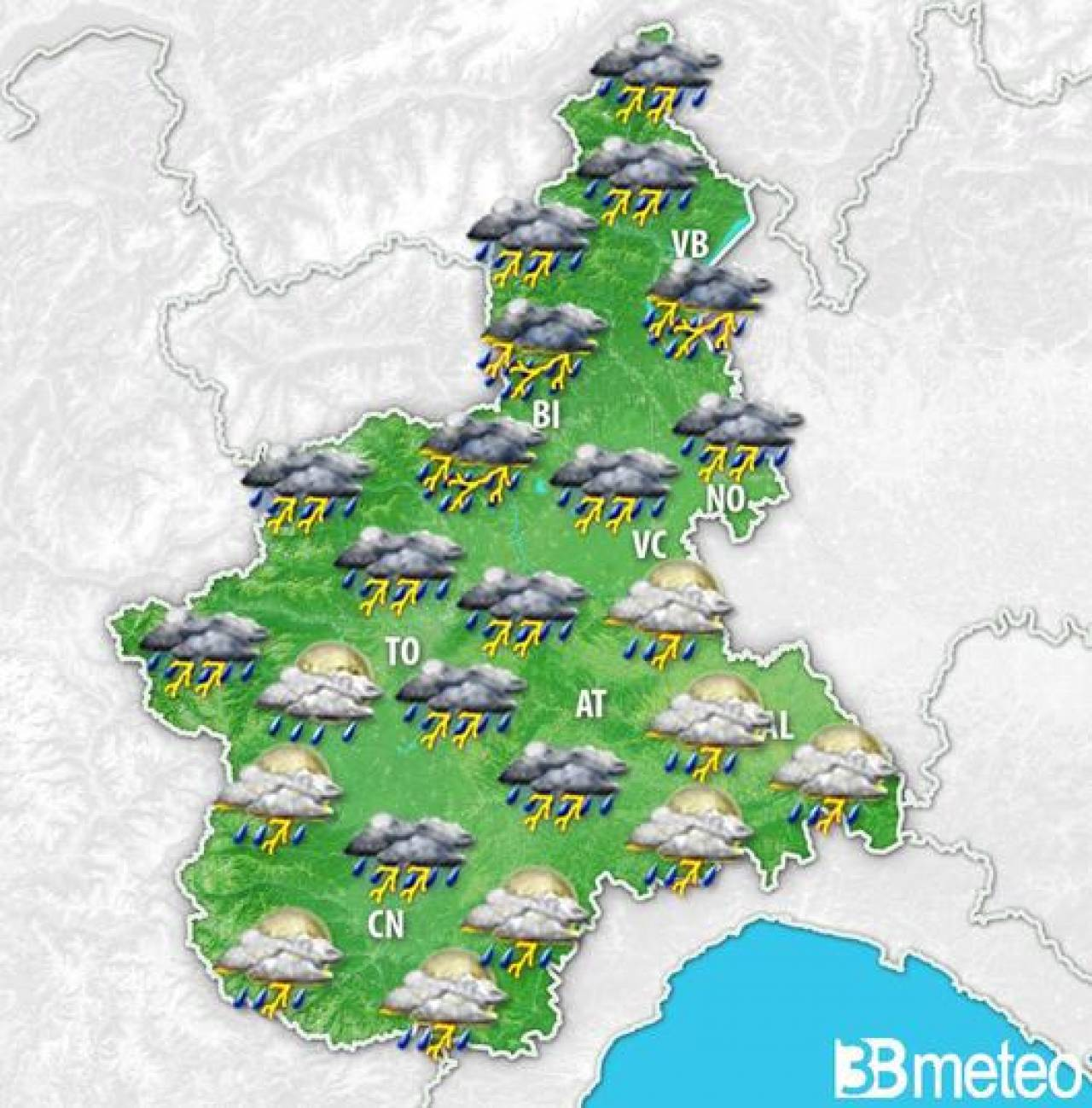 Meteo Weekend Piemonte con temporali e calo delle temperature