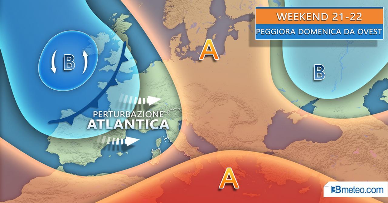 METEO WEEKEND, MALTEMPO in ARRIVO DOMENICA su parte d'Italia, SABATO sole prevalente