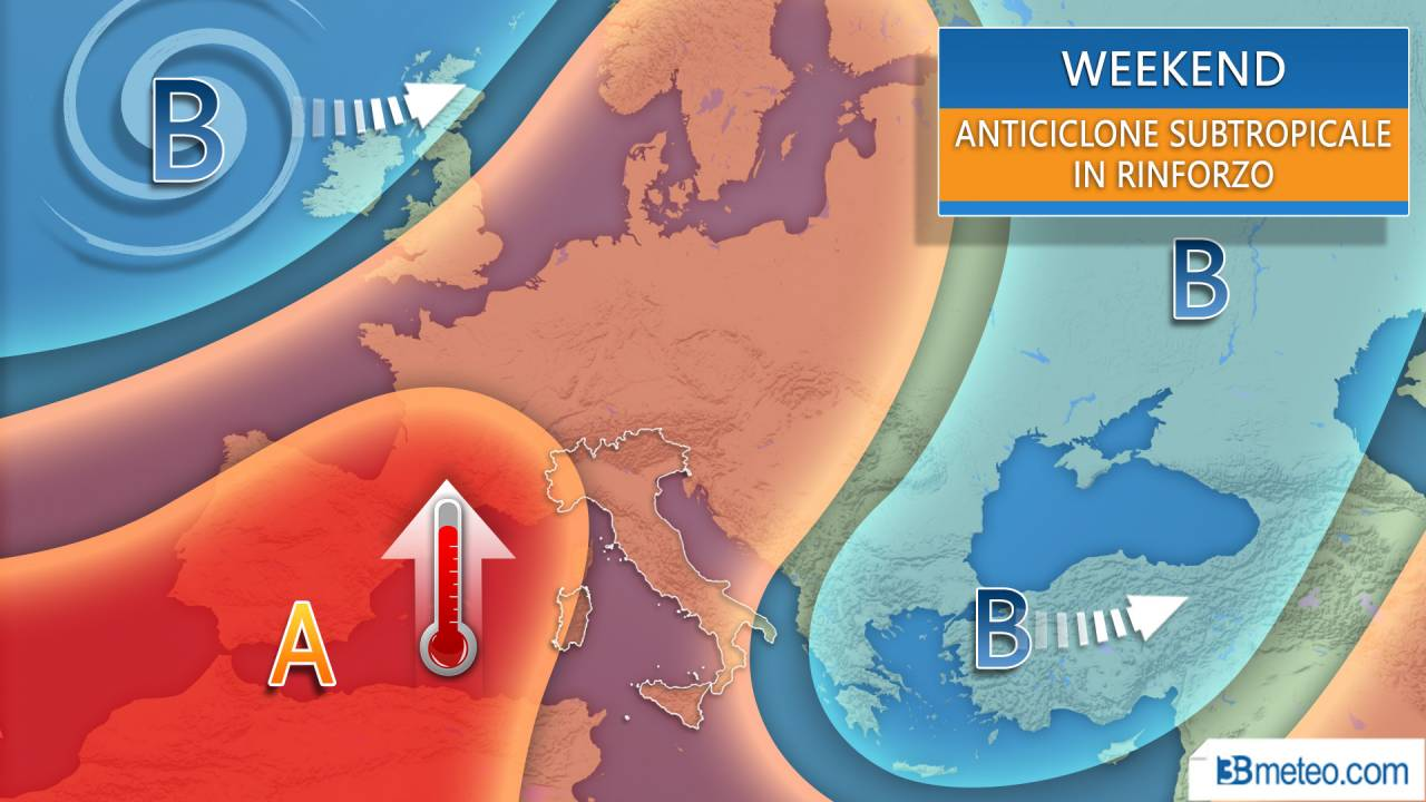Meteo weekend, tra anticiclone africano e qualche temporale