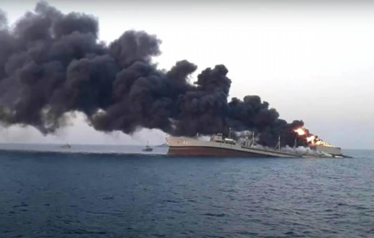 Nave militare iraniana prende fuoco e affonda nel Golfo di Oman