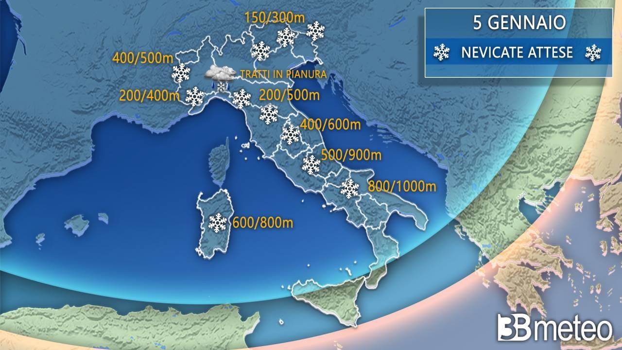 Neve attesa domani, a tratti sino a bassa quota