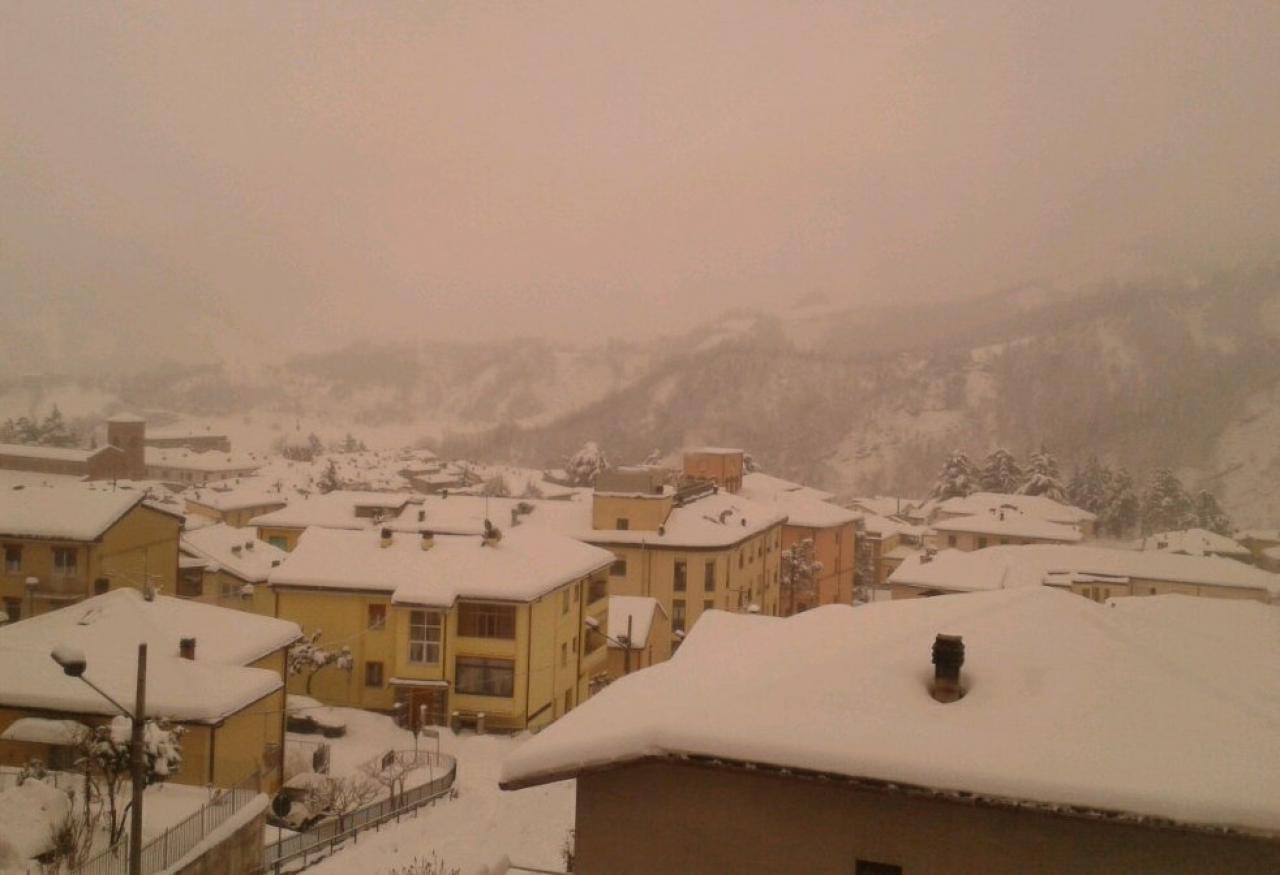 Neve rossa sull'Appennino Emiliano (Fonte immagine: meteoforlicesena.it)