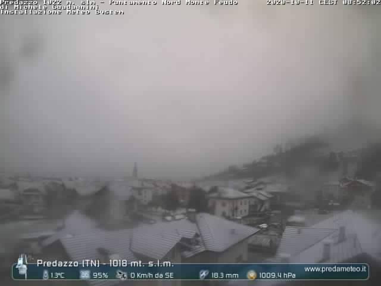 Nevica fin verso i 1000 metri in Trentino: la situazione a Predazzo (fonte: predameteo.it)
