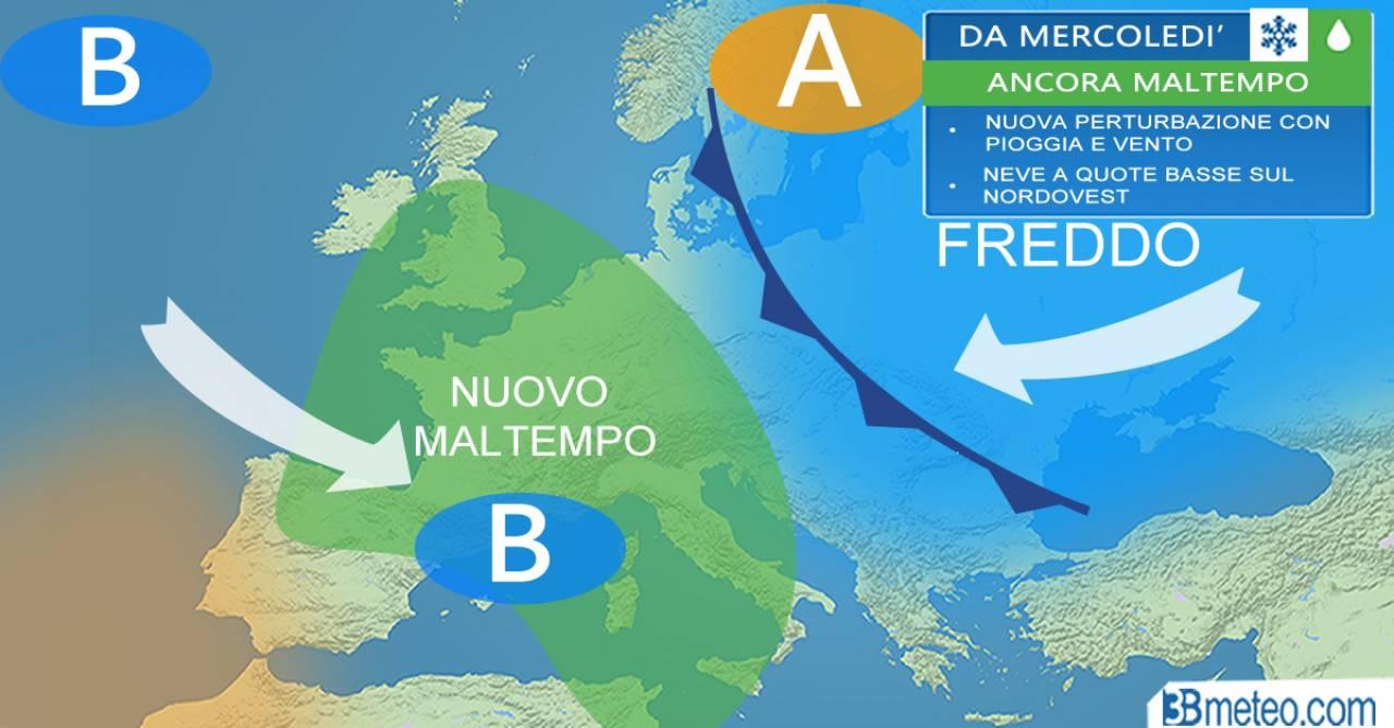 METEO Italia - oggi breve tregua, da mercoledì nuovo vortice con ritorno del maltempo