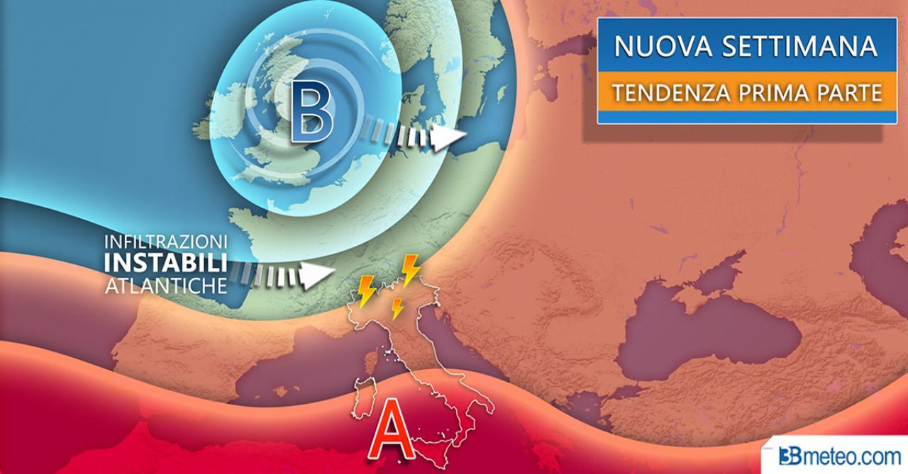 Nuova settimana tra caldo africano e nuovi forti temporali