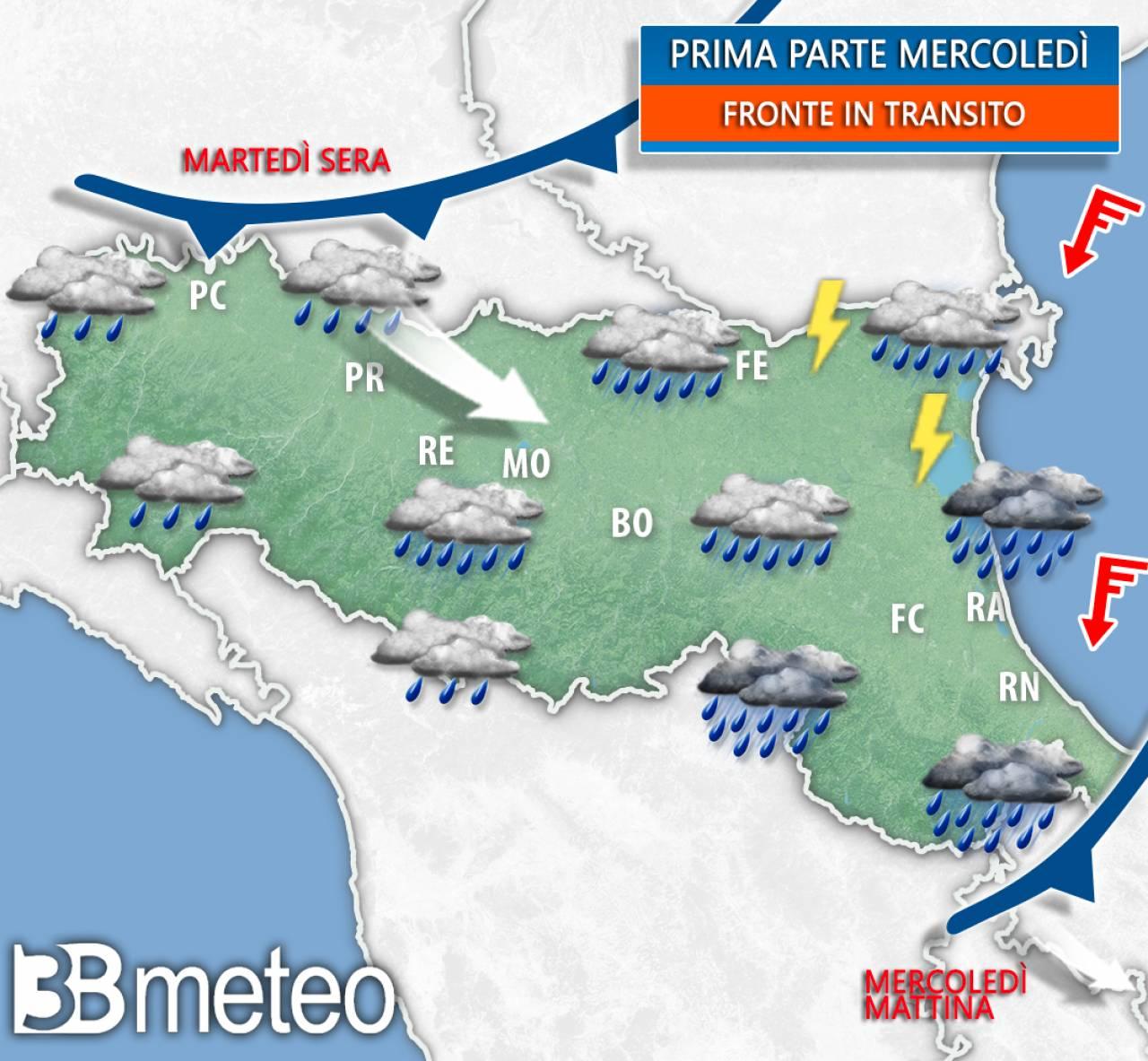 Nuovo fronte in arrivo sull'Emilia Romagna