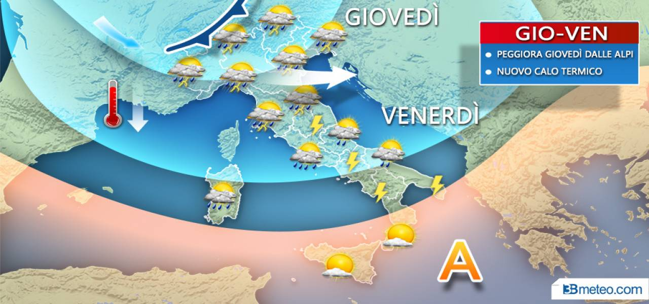 METEO ITALIA - Temporali e rovesci in marcia dal Nord verso il resto della Penisola. Dettagli