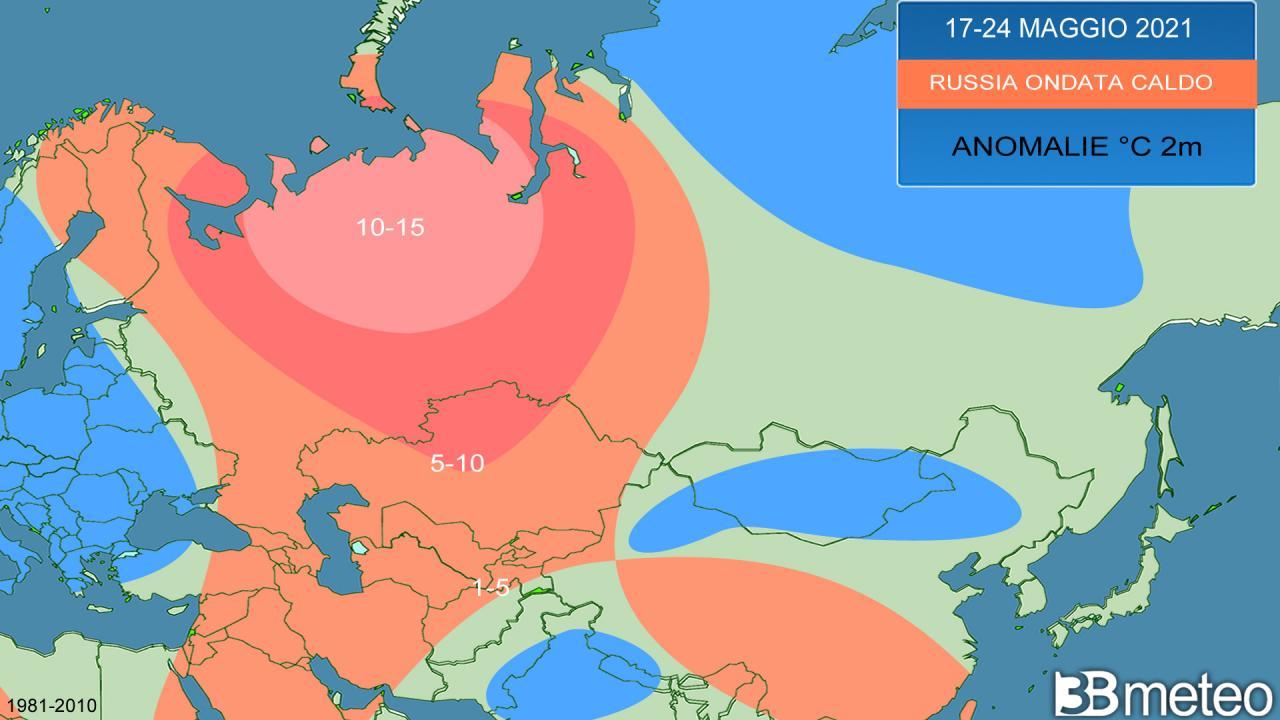 ondata di caldo sulla Russia, anomalie attese