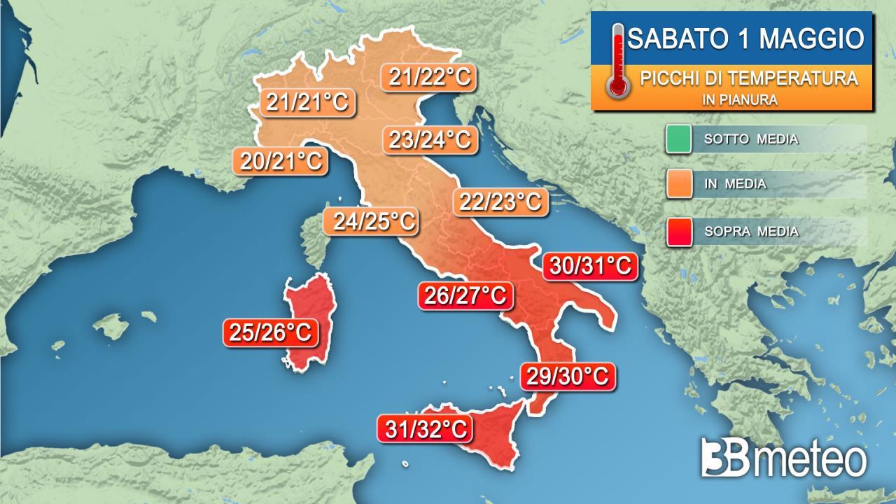 Picchi di temperatura massima nella giornata di sabato 1 maggio