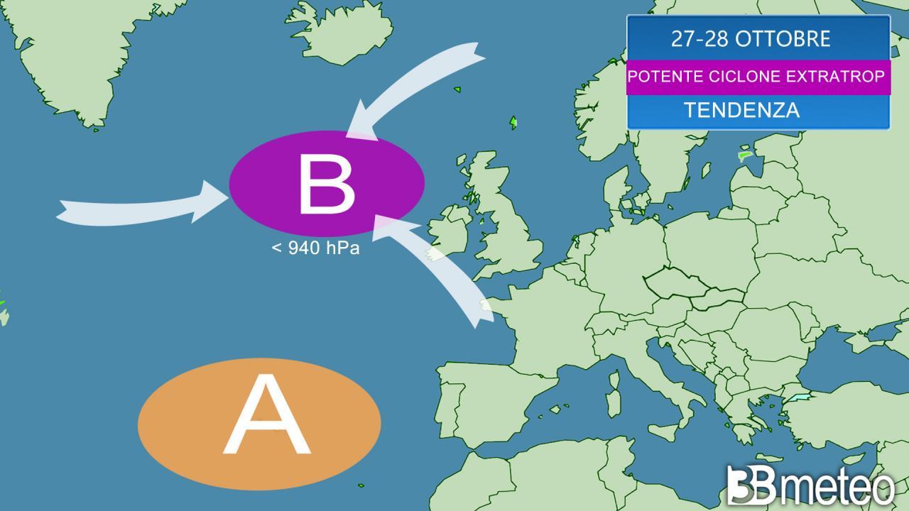 Potente ciclone extratropicale atteso su ovest Europa
