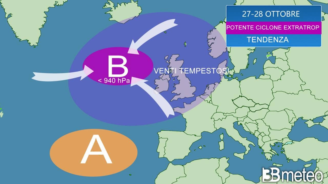 potente ciclone extratropicale in arrivo verso l'Europa occidentale