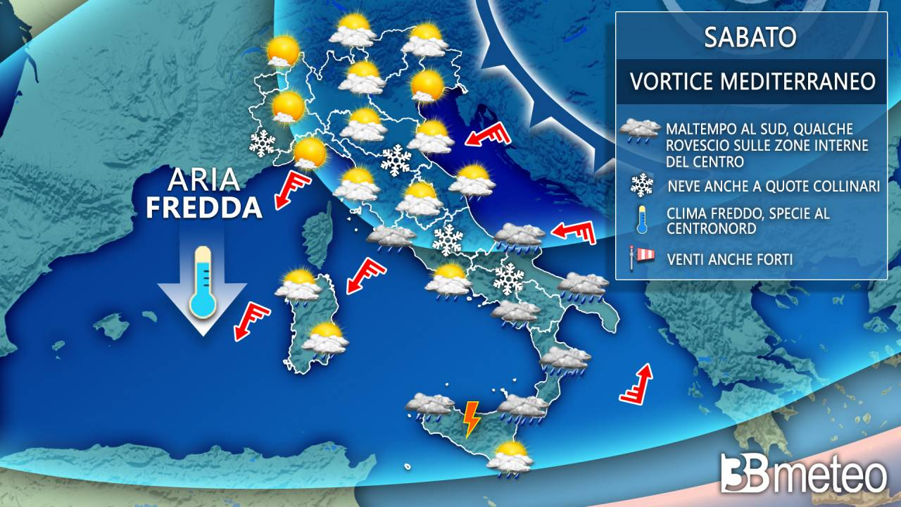 Previsioni meteo per sabato