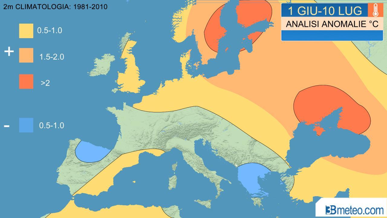 prima parte estate 2020, anomalie temperatura a 2m