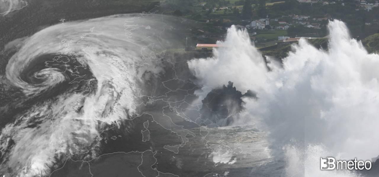 Profondo vortice ciclonico sull'Europa nordoccidentale