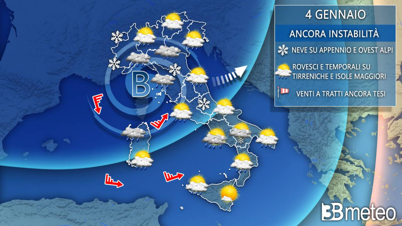 Prosegue l'instabilità sull'Italia con pioggia e neve