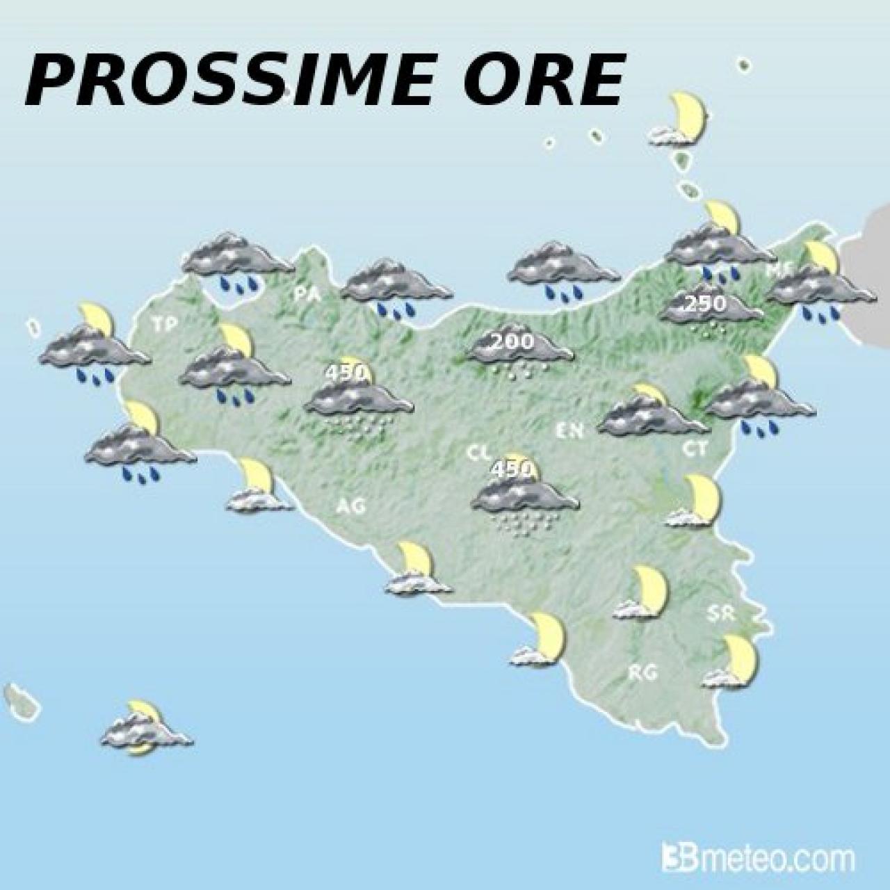 Meteo Messina, Palermo: ultime piogge e neve in collina ...