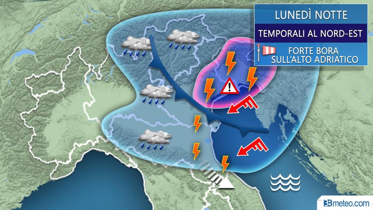 Raffica di temporali e venti forti tra stanotte e martedì mattina