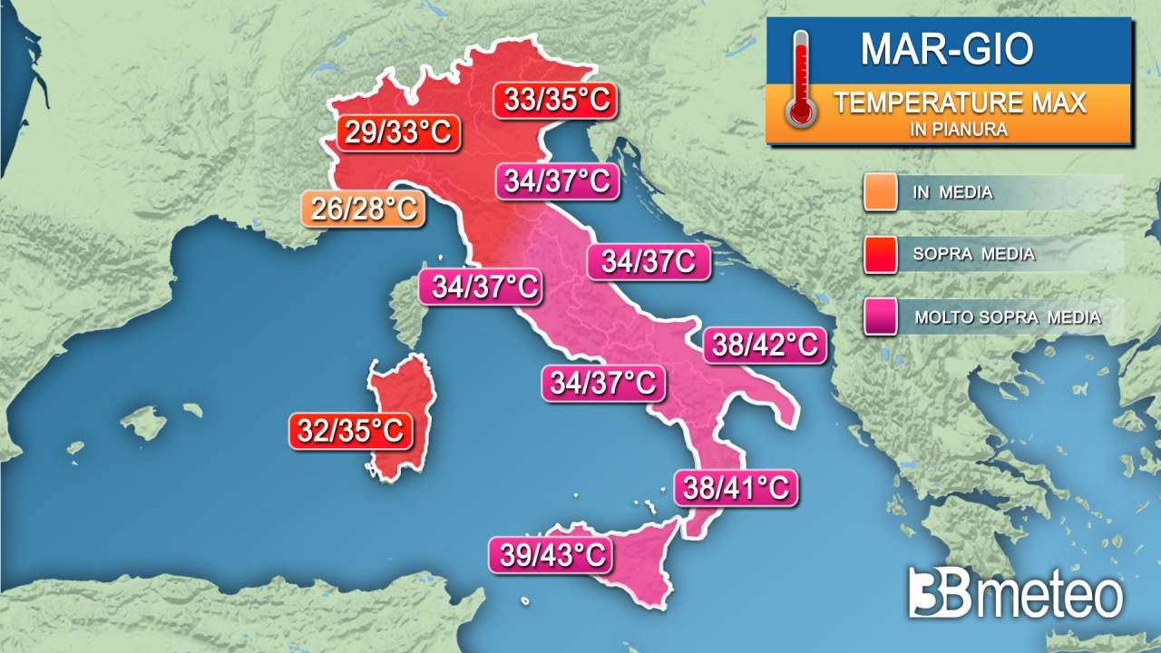 Range temperature massime martedì, mercoledì, giovedì