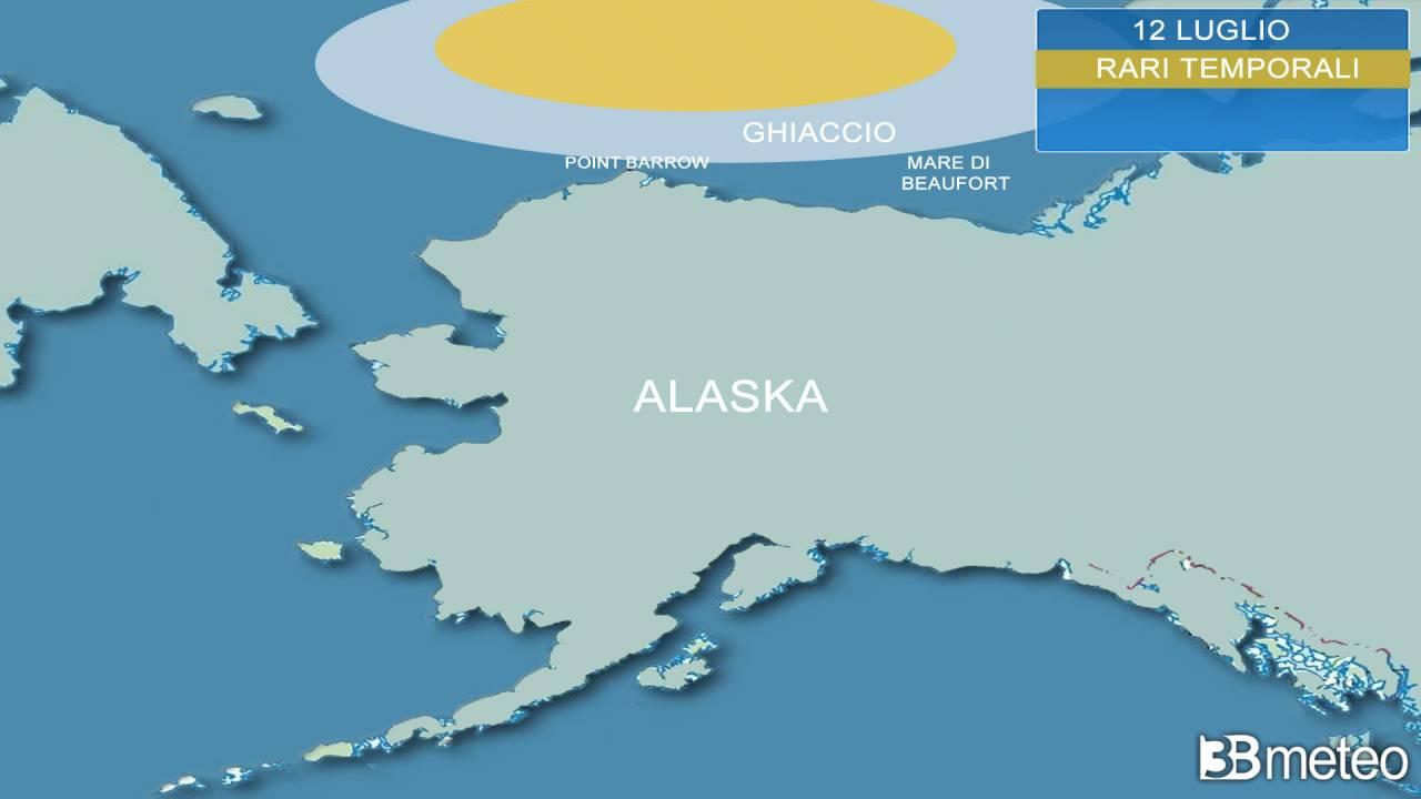 Cronaca Meteo. Alaska, RARI TEMPORALI sul ghiaccio marino artico!