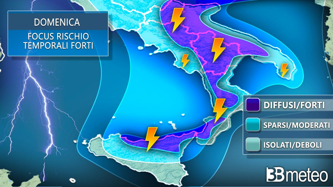 Rischio rovesci e temporali domenica al Sud Italia