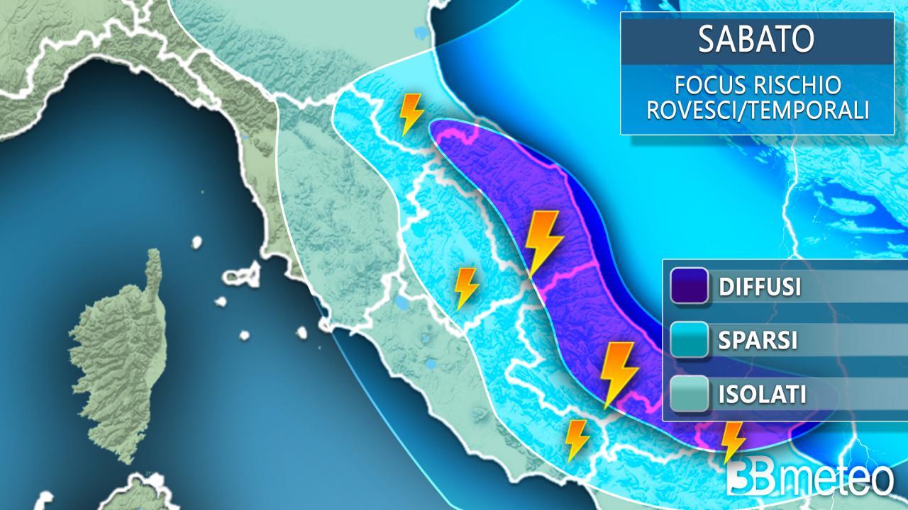 Rischio rovesci e temporali sabato al Centro Italia