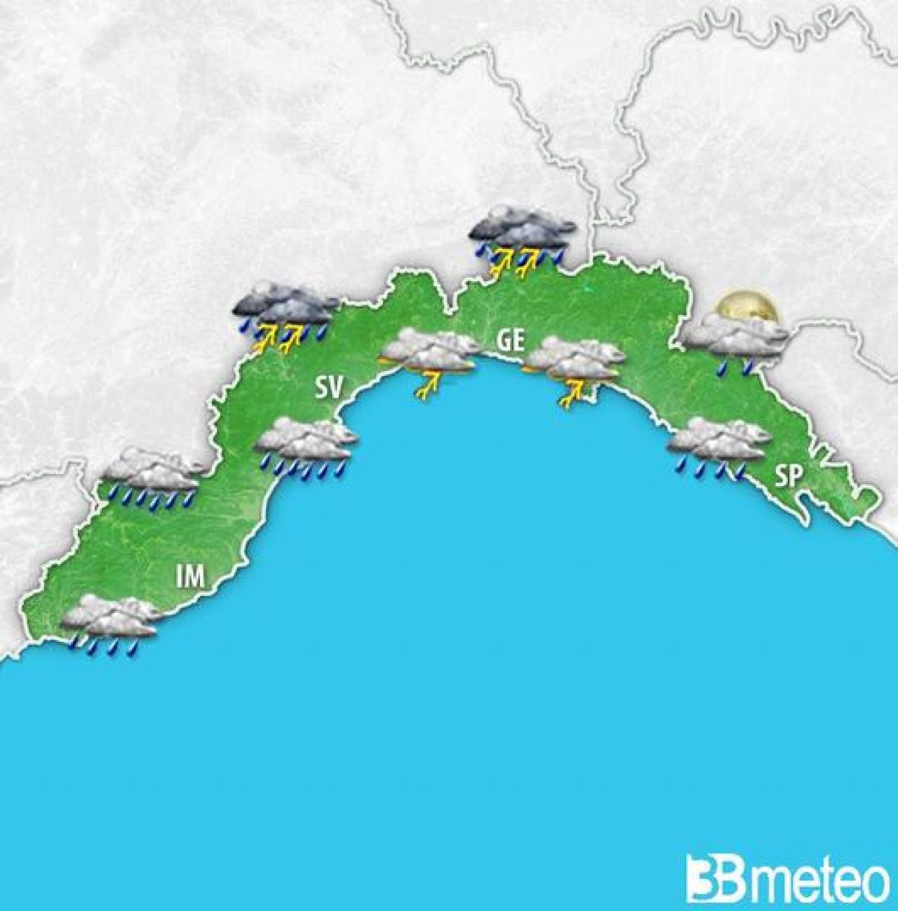 Rovesci e temporali attesi nella serata odierna sulla Liguria