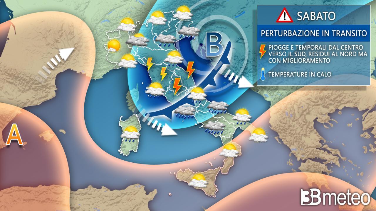 Sabato instabile in molte zone dell'Italia