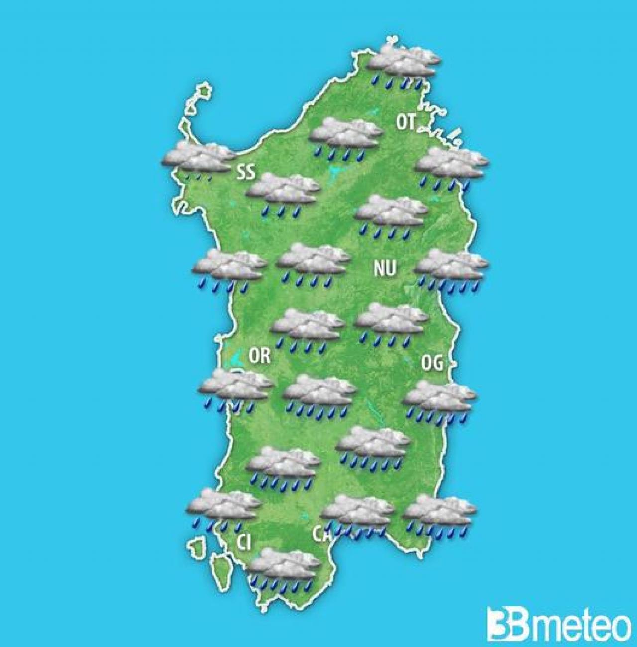 METEO SARDEGNA: nel WEEKEND nuovo MALTEMPO con un VORTICE MEDITERRANEO. Piogge a CAGLIARI