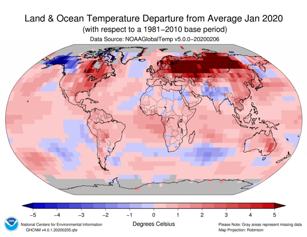 Scarti termici di gennaio 2020 rispetto alla media (Fonte immagine NOAA)