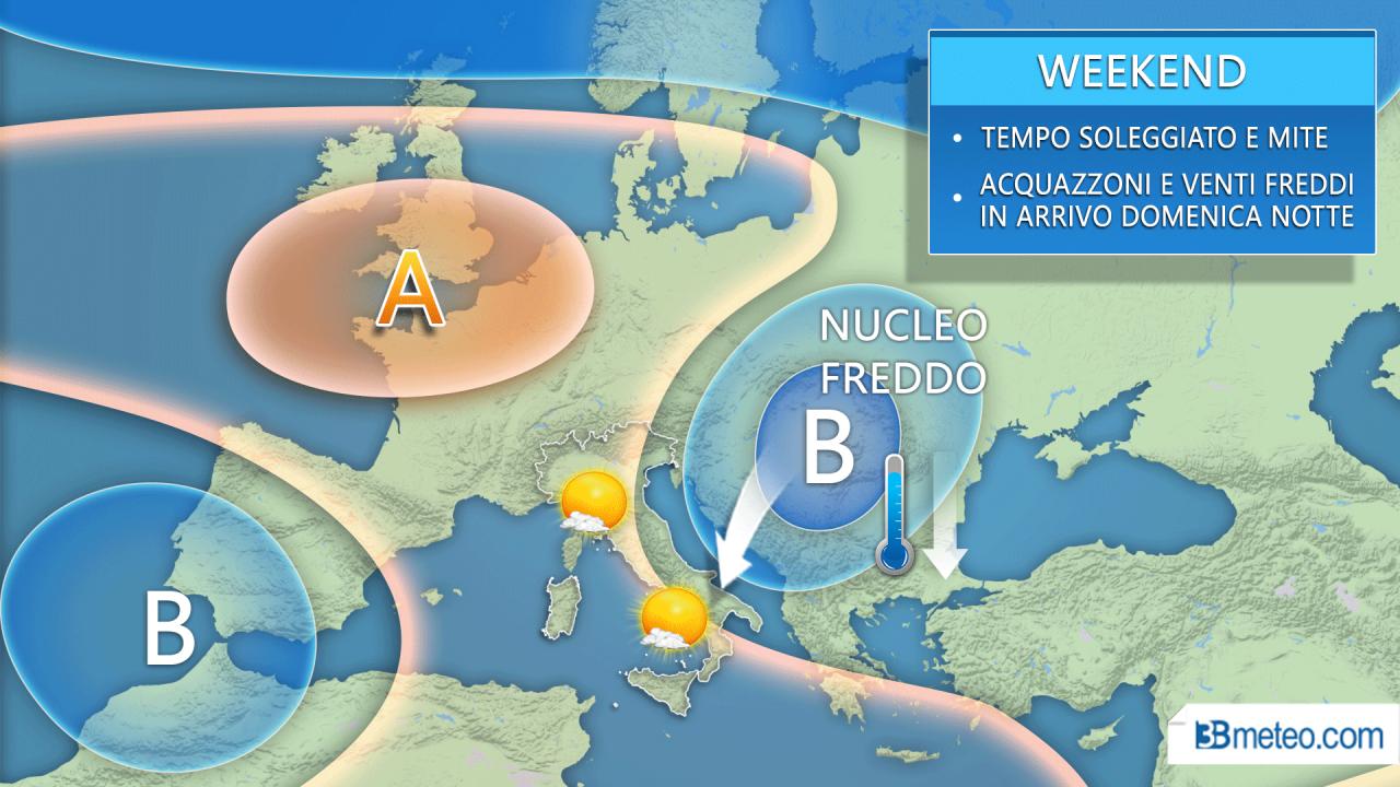 Meteo Italia Weekend. Sole e CLIMA MOLTO MITE, fino a 26°C. Nucleo freddo si avvicina dai Balcani