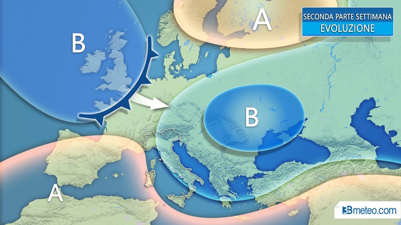 Meteo settimana. Italia resta ai margini del FREDDO, tempo in generale peggioramento da mercoledì