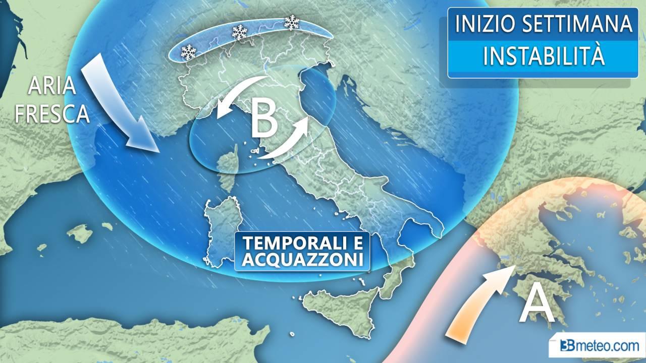 Meteo Italia - Temporali e clima molto fresco anche in settimana