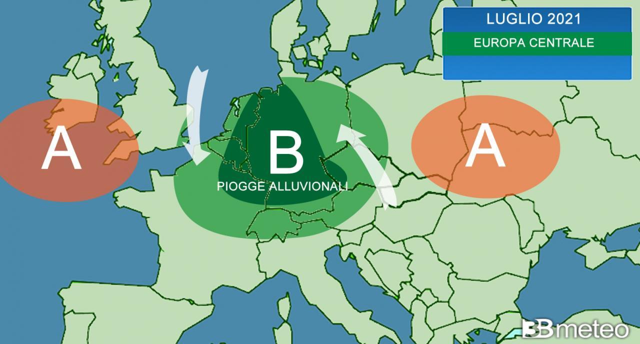 sinottica evento alluvionale nel cuore dell'Europa