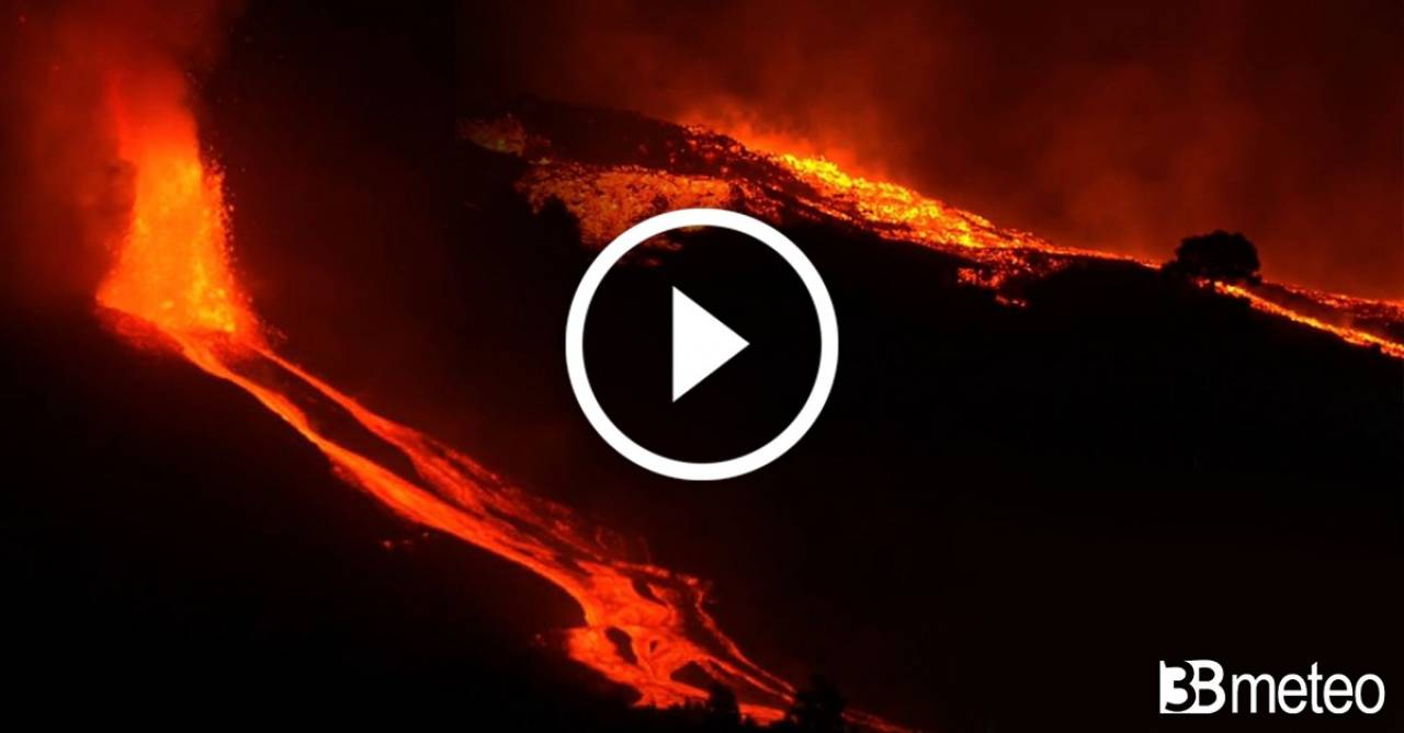 Spettacolare eruzione a La Palma la notte scorsa