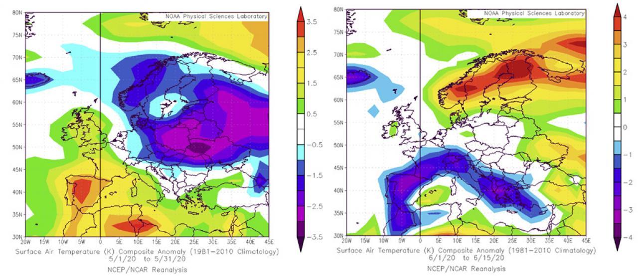 temperature 'speculari' in Europa tra maggio e giugno