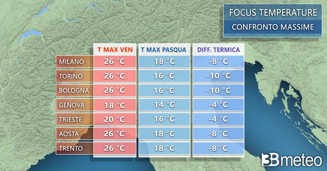 Temperature in calo, il confronto con le massime tra venerdì e Pasqua - NORD