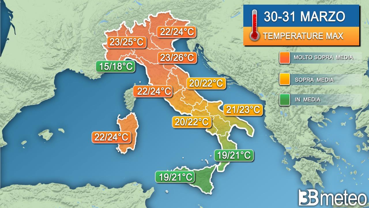 Temperature massime 30-31 marzo