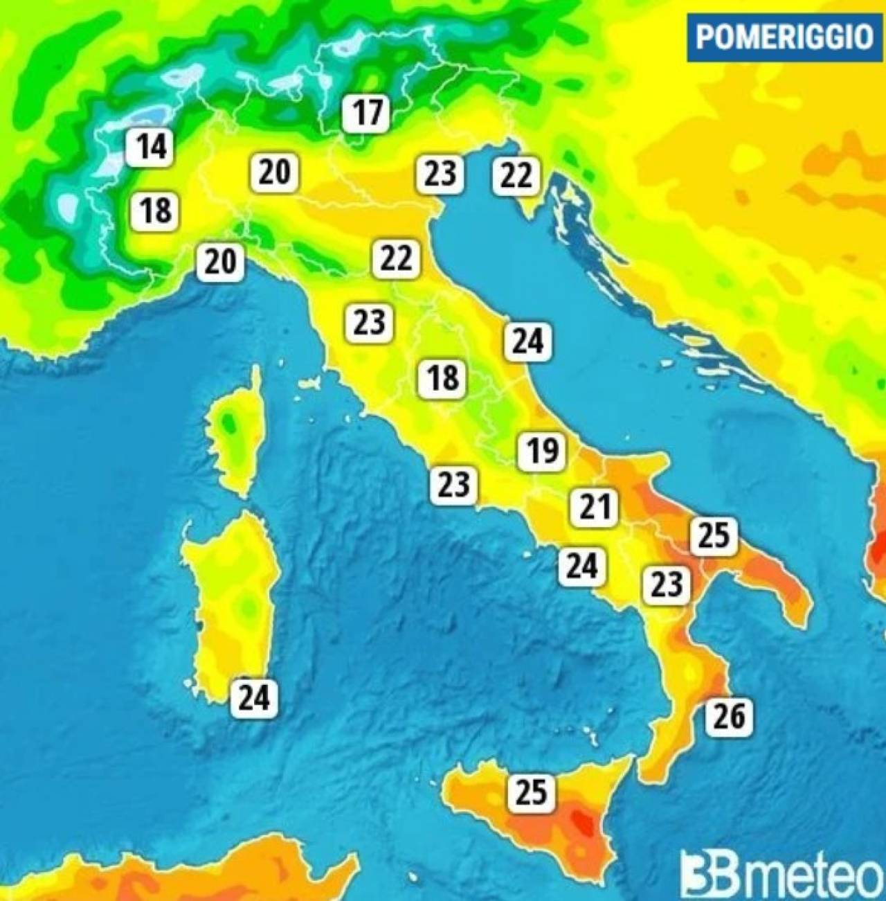 Temperature massime di domenica