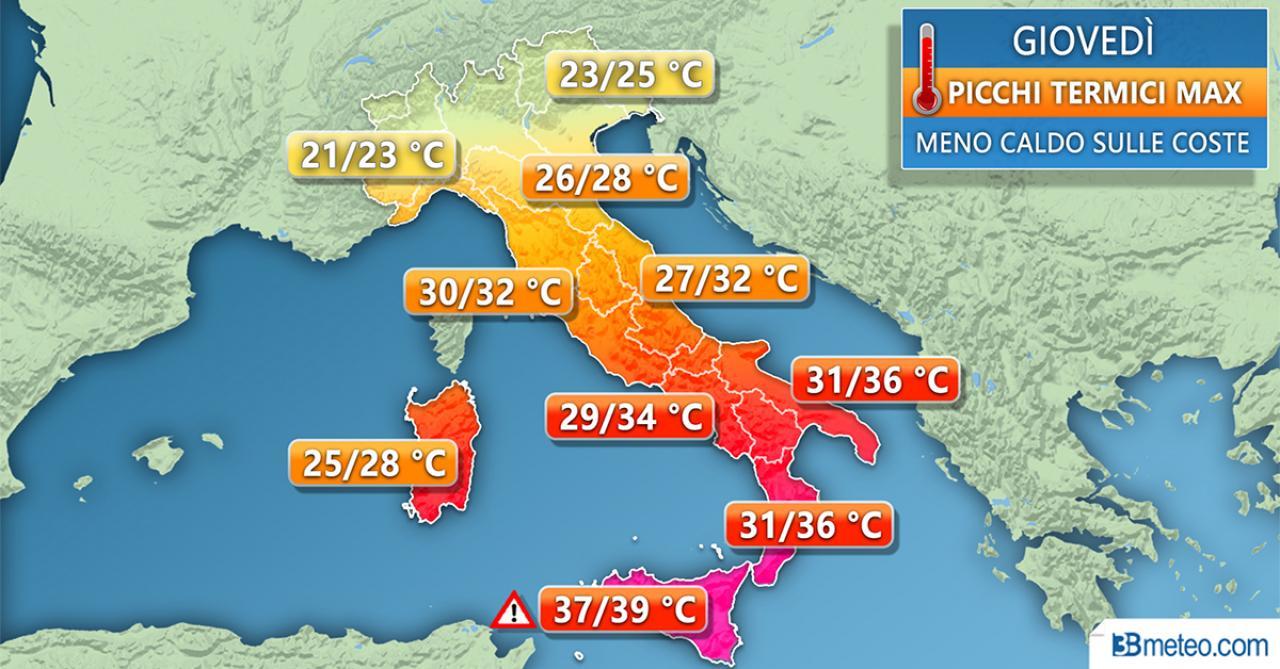 Temperature massime di giovedì