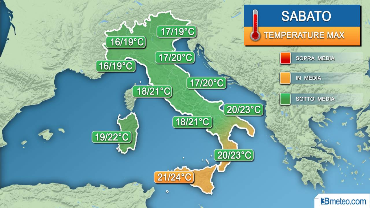 Temperature massime di sabato