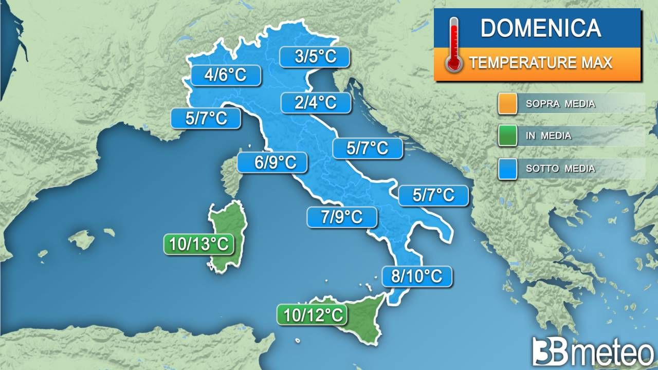 Temperature massime domenica