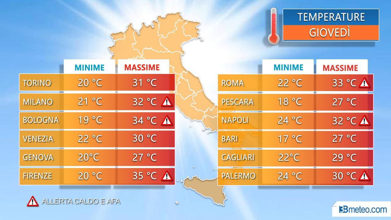 Temperature massime giovedì nelle principali città